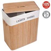 XL Bamboe Wassorteer Wasmand Met Deksel & Stoffen Waszak - Light & Dark Laundry Basket - 2 Vakken - 105 Liter