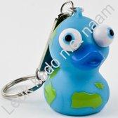 Leuk kado met naam sleutelhanger pop out eendje - blauw