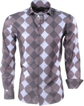 Pradz - Heren Overhemd - Geruit - Bruin