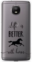 Motorola Moto G5S Hoesje Life is Better with Horses