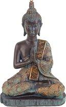 Boeddha in gebed antieke finish Thailand - 15x10x23 - 380 - Polyresin