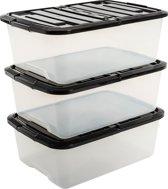 IRIS Topbox opbergbox met klap deksel - 30L - Kunststof - Transparant/Zwart - 3 stuks