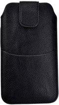 Huawei P8 Zwart Insteekhoesje met riemlus en opbergvakje