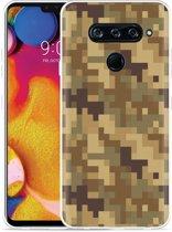 LG V40 Hoesje Pixel Camouflage Brown