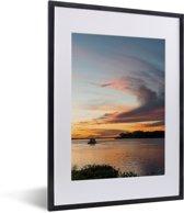 Foto in lijst - Prachtige zonsondergang bij de Pantanal fotolijst zwart met witte passe-partout klein 30x40 cm - Poster in lijst (Wanddecoratie woonkamer / slaapkamer)