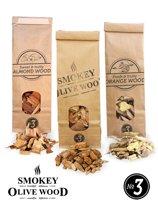 Smokey Olive Wood – 3x 500ml Houtsnippers - Olijfhout - Sinaasappelhout - Amandelhout- Rookchips groot ø 2cm-3cm