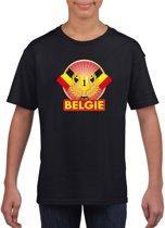 Zwart Belgisch kampioen t-shirt kinderen - Belgie supporter shirt jongens en meisjes XL (158-164)