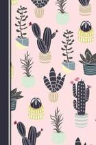 Cute Cactus Theme Notebook for Girls Pink 6x9