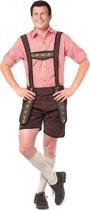 Voordelige Lederhose set   Lederhosen man met  Tiroler blouse   Rood  Maat M