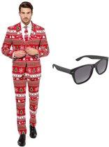 Kerstboom print heren kostuum / pak - maat 52 (XL) met gratis zonnebril