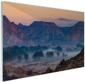 Woestijngebied Midden-Oosten Glas 90x60 cm - Foto print op Glas (Plexiglas wanddecoratie)