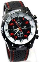 GT sportief - Tiener Horloge - 44 mm - Siliconen - Zwart/Rood