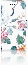 Samsung Galaxy A3 2017 Uniek Boekhoesje Bird Flowers