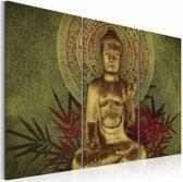 Schilderij - Boeddha - Groen, 3luik