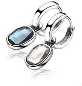 Zinzi ZICH1007B oorringhanger - Swarovski Kristal - Blauw/Wit - 18 mm