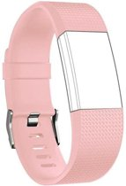 Horloge Band Voor de Fitbit Charge 2 - Siliconen Sport Lichtroze Watchband - Armband  - Small - Geschikt voor de Activity Tracker