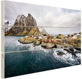 Lofoten landschap Hout 30x20 cm - klein - Foto print op Hout (Wanddecoratie)
