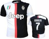 Juventus Replica Cristiano Ronaldo CR7 Thuis Voetbalshirt Seizoen 2019/2020 Zwart / Wit, Maat: XXL