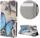 Huawei Y6 II   Honor 5A Hoesje Blauwe Vlinder met Opbergvakjes