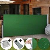Uittrekbaar zonne - windscherm - 180 x 300 cm - Groen - Vloerbeugel