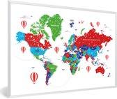 Foto in lijst - Kleurrijke wereldkaart op een witte achtergrond fotolijst wit 60x40 cm - Poster in lijst (Wanddecoratie woonkamer / slaapkamer)