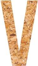 Kleefletter - plakletter - prikbord - kurk - vegan - letter V - 10 cm hoog