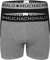 Muchachomalo Boxers Solid 2-pack Heren - Zwart-Grijs - S