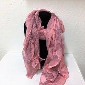 Fashionidea - Mooie roze zijde zachte sjaal met sierlijke opdruk.