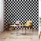 Fotobehang Black And White Checkered Pattern | V8 - 368cm x 254cm | 130gr/m2 Vlies