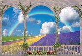 Fotobehang Flowers Through The Arches   L - 152.5cm x 104cm   130g/m2 Vlies