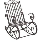 Metalen tuin schommelstoel - donkergroen lichtgrijze patina