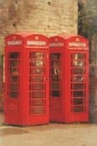 2 Telephone Booths - Blank Notebook with Fleur de Lis Corners
