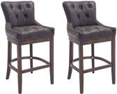 Clp Buckingham - Set van 2 barkrukken - Lederen bekleding - bruin Onderstel : antiek