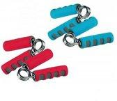 Handknijpers - Knijphalters - 2 stuks - Zachte grip - Fitness - Knijphalter set - DIVERSE KLUREN ROOD - BLAUW