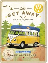 VW Lets Get Away Metalen wandbord in reliëf 30x40 cm