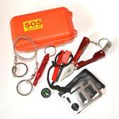 SOS survival kit in waterdichte container