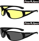 Combinatievoordeel Polar Specs® Polariserende Nachtbril + Polariserende Zonnebril Full Wrap PS9027 – Shiny Black – Polarized – Medium – Unisex