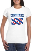 T-shirt met Friese vlag wit dames XS