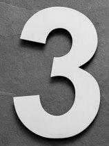 Grote RVS Huisnummers | Hoogte 25cm XXL Nummer 3