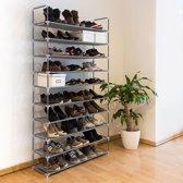 relaxdays schoenenrek XXL, 50 paar schoenen, 10 etages, schoenenkast, textiel grijs