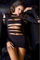 Zwarte mini jurk met openingen en lange mouwen