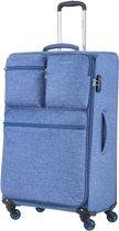 CarryOn Cargo TSA Reiskoffer 79cm Koffer Trolley - 3 voorvakken - Gevoerd - Polycotton - Blauw