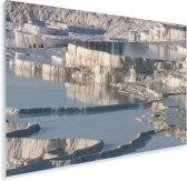 Witte kalkformaties bij Pamukkale in Turkije Plexiglas 60x40 cm - Foto print op Glas (Plexiglas wanddecoratie)
