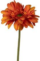 Viv! Home Luxuries Gerbera - 2 stuks - zijden bloem - oranje - topkwaliteit