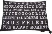 Lex & max tekst urban hondenkussen rechthoek  100x70cm grijs