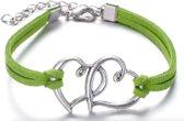 Sieraden - Armband - Hartje - Groen - Zilverkleurig - 22cm