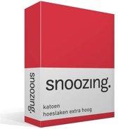 Snoozing - Katoen - Extra Hoog - Hoeslaken - Eenpersoons - 90x220 cm - Rood