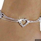 Charme Bijoux® Enkelbandje - met strass hartje