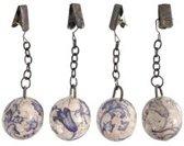 Tafelkleedgewichtjes Aged Ceramic blauw 4 stuks per set