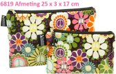 "Vagabond-Toilettas- Clutch ""Peace"" 6819-afmeting 27 x 3 x 17 cm"